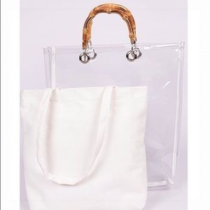 Handbags - 🥂HP!!🥂Transparent Clear Tote w/Removable Bag